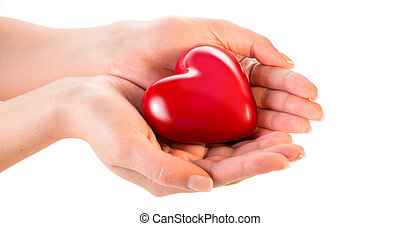 femme, coeur, amour, mains, -, donner