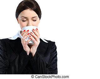 femme, coffee., business, tasse, isolé, arrière-plan., blanc, gentil