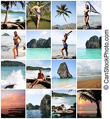 femme, collage, jeune, thaïlande, apprécier, plage, heureux