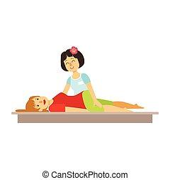 femme, coloré, caractère, massage., avoir, thaï, dessin animé