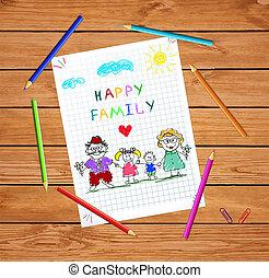 femme, coloré, ensemble, main, vecteur, illustration, tenant mains, dessiné, homme, enfants