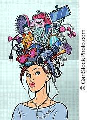 femme, concept, moderne, pensées