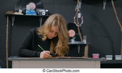 femme, concepteur, fonctionnement, papier, décorateur, professionnel, kraft