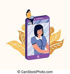 femme, conception, ordinateur portable, vecteur, smartphone