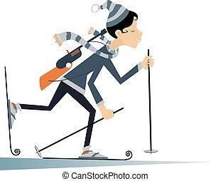 femme, concurrent, biathlon