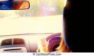 femme, conduite, voiture, filter., slowmotion., vendange, 1920x1080