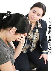 femme, conseiller, ou, jeune, psychologue, conversation