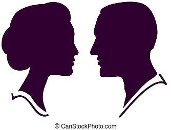 femme, couple, figure, profil, vecteur, femme, mâle, homme