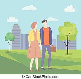 femme, couple, parc, vecteur, tenant mains, homme