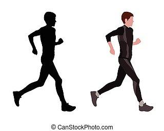 femme, coureur, marathon