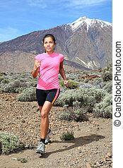 femme, coureur, -, traîner courir, transnational