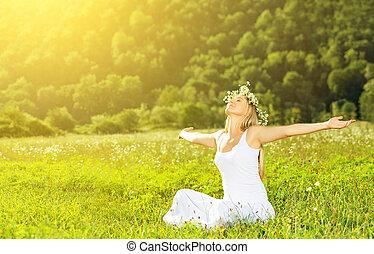 femme, couronne, vie, heureux, été, dehors, apprécier