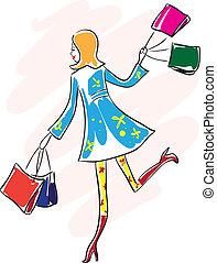 femme, course, jeune, sac, achats, heureux