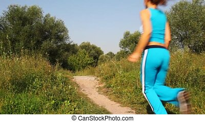 femme, course, parc, en avant!, sentier, homme