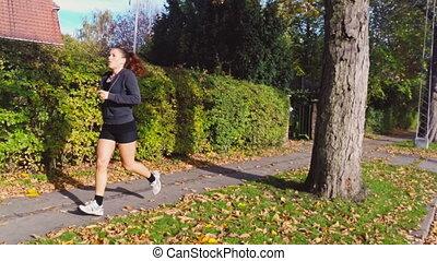 femme, course, quotidiennement, elle, exercice