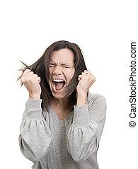 femme, cris, elle, cheveux, frustration, récupérations directes