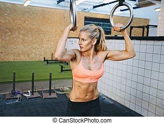 femme, crise, gymnaste, anneaux, jeune, exercices
