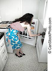 femme, cuisson, cuisine