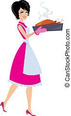 femme, cuisson, illustration