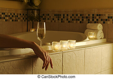 femme, décontracté, bain