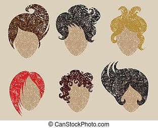 femme, dénommer cheveux