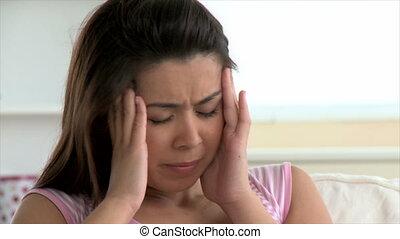 femme, déprimé, mal tête, asiatique