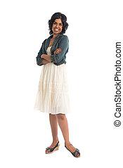 femme, désinvolte, indien, jupe