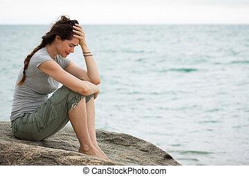 femme, désordre, pleurer, océan