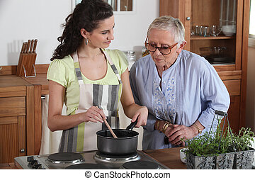femme, dame, cuisine, personnes agées, jeune