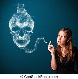 femme, dangereux, fumer, fumée, jeune, crâne, toxique, cigarette