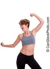 femme, danse, mince, ou, classe, exercice
