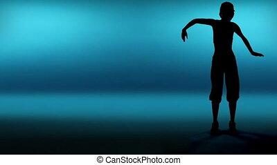 femme, danseur, silhouette