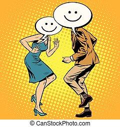 femme, danseurs, smiley, comique, emoji, homme