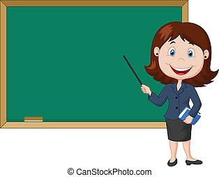 femme debout, dessin animé, nex, prof