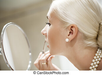 femme, demande, dof, (shallow, foyer, maquillage, eye)