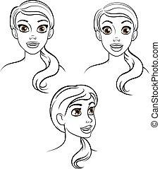 femme, dessin animé, figure