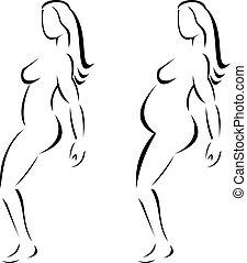 femme, dessin ligne