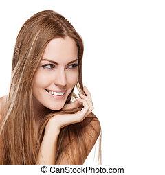 femme, directement, jeune, longs cheveux, joli, portrait, sourire