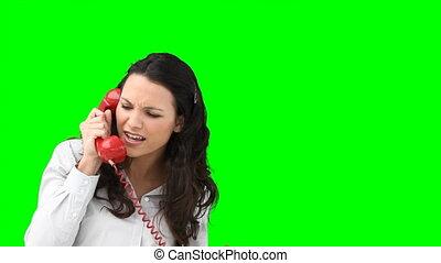 femme, discuter, téléphone