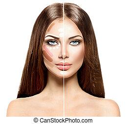 femme, divisé, maquillage, figure, mélange, souligner, contour, après, avant