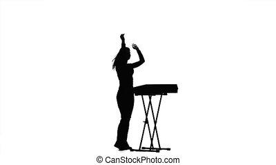 femme, dj, piano., fond, silhouette, blanc, jouer