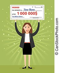 femme, dollars, million, une, mains, chèque