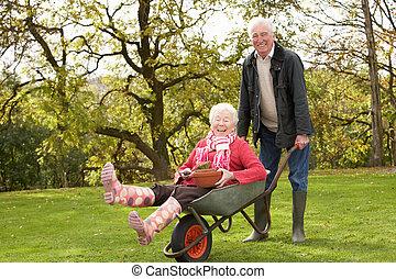 femme, donner, cavalcade, brouette, couples aînés, homme