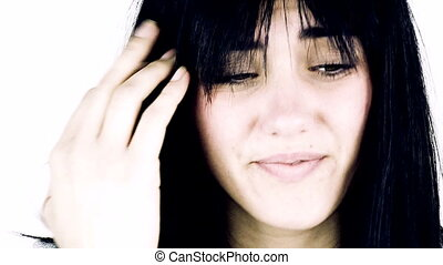 femme, douleur sentiment, mal tête
