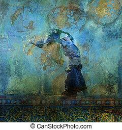 femme, dune., coloré, sable, lune, stars., souffler, basé, upraised, illustration., robe, photo