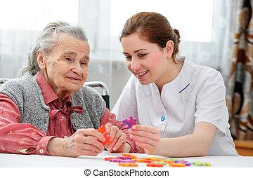 femme, elle, aîné, personne agee, infirmière, soin