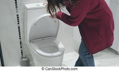 femme, elle, blanc, usures, chooses, contre, toilet., virus, masque, magasin