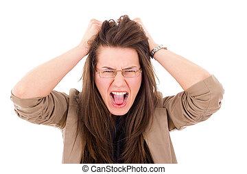 femme, elle, cheveux extraire, frustration, accentué