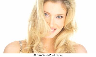 femme, elle, cheveux, sexy, blond, jouer