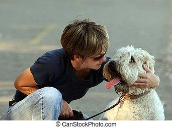 femme, elle, chien